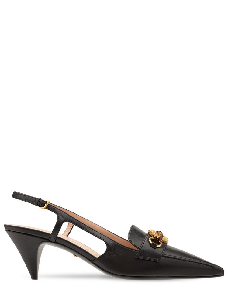 GUCCI 55mm Leather Pumps W/ Bamboo Horsebit in black