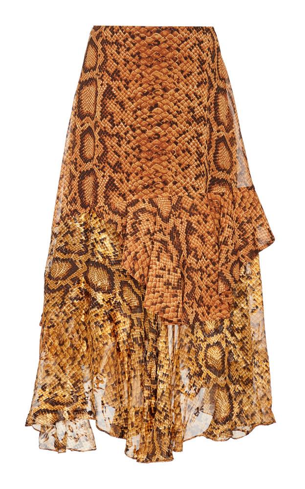Preen by Thornton Bregazzi Delaney Ruffled Midi Skirt in neutral