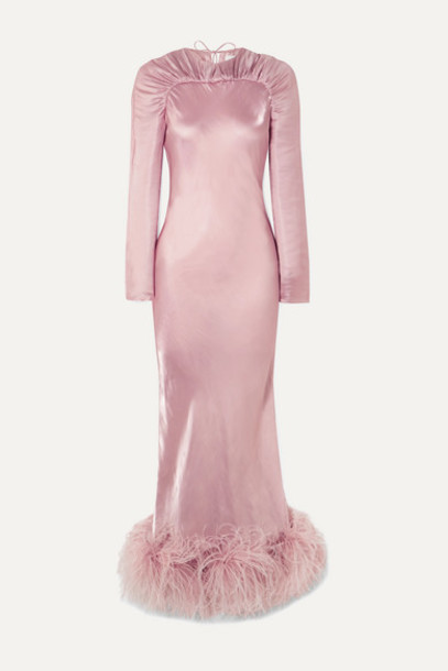 16ARLINGTON - Astair Open-back Feather-trimmed Ruched Satin Gown - Pink