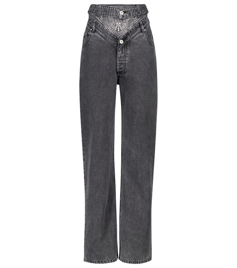 Y/PROJECT Embellished high-rise straight jeans in grey