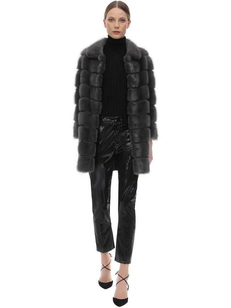 SIMONETTA RAVIZZA Mink Fur Coat in grey