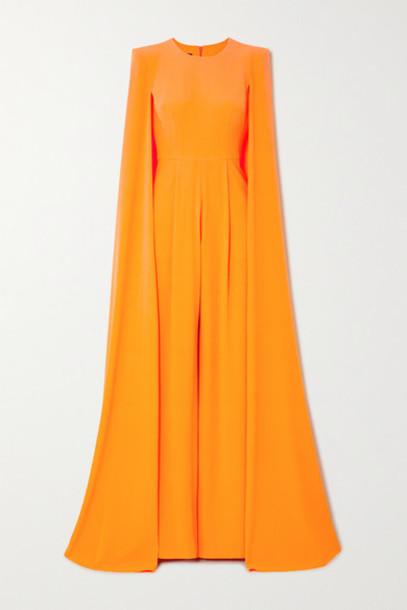 Alex Perry - Lila Cape-effect Crepe Jumpsuit - Pastel orange