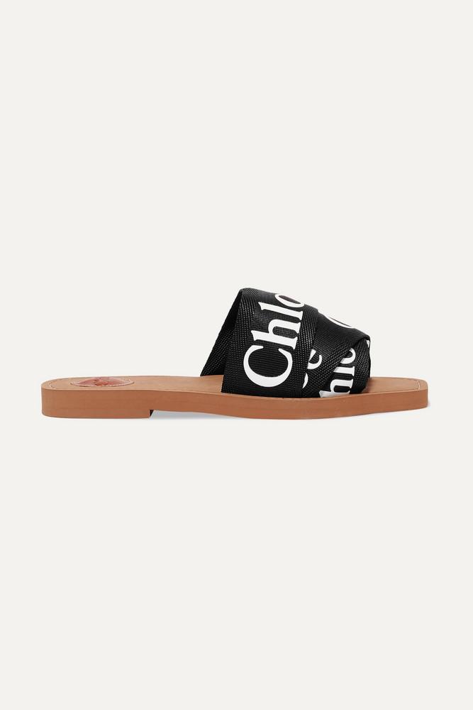 CHLOÉ CHLOÉ - Woody Logo-print Canvas Slides - Black