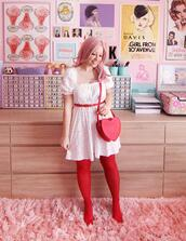scathingly brilliant,blogger,dress,tights,shoes,bag,valentines day,heart bag