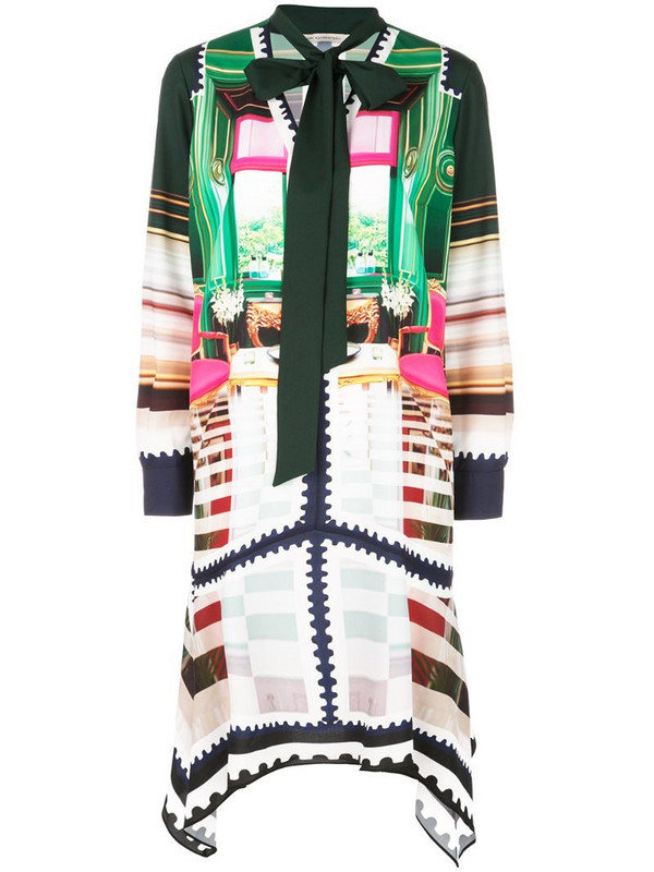 Mary Katrantzou printed pussybow dress in green