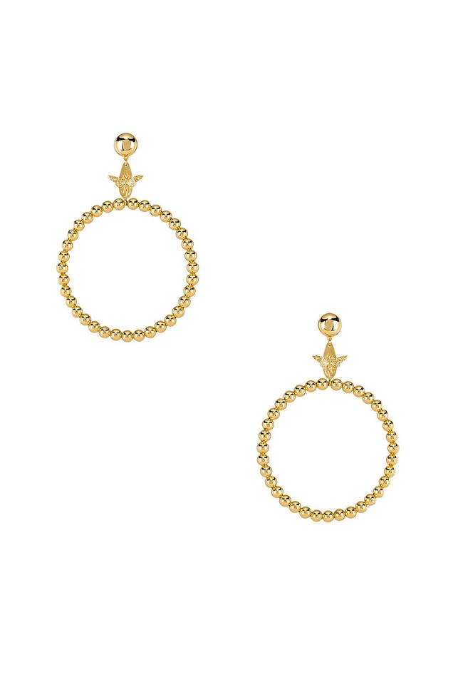 Wanderlust + Co Bee Hoop Earrings in gold / metallic