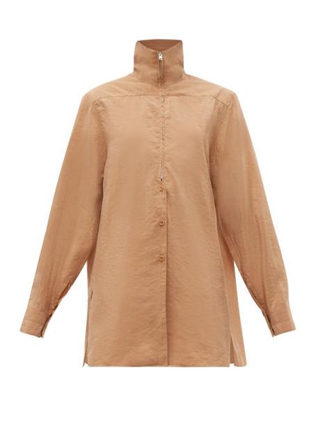 Lemaire - High Neck Zip Silk Blend Shirt - Womens - Tan