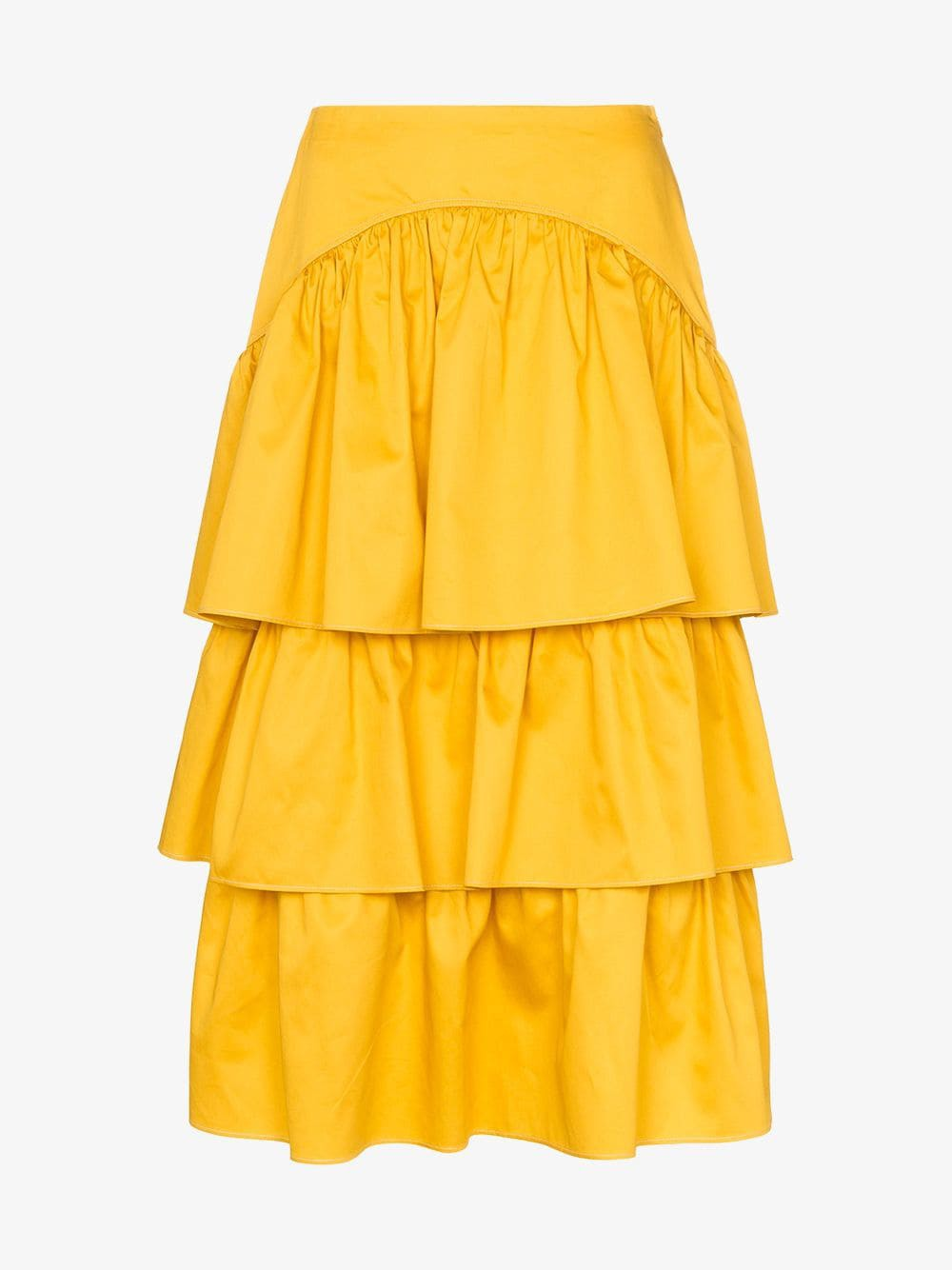 See By Chloé See By Chloé tiered cotton midi skirt in yellow