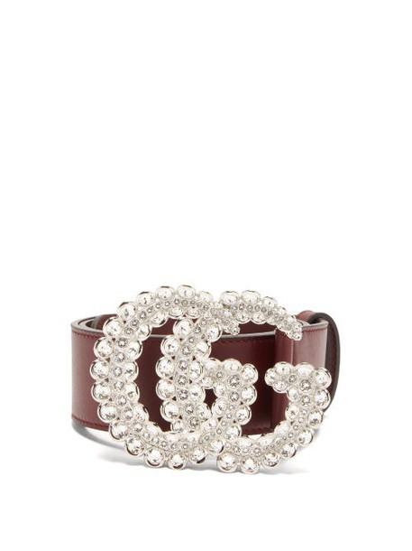 Gucci - Gg Crystal Embellished Leather Belt - Womens - Burgundy