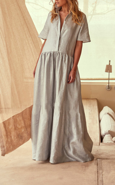 White Story Operato Tiered Linen Maxi Dress in silver