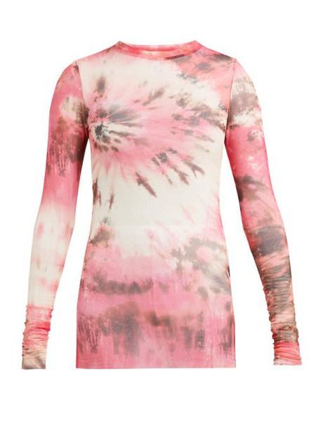 Msgm - Tie Dye Mesh Top - Womens - Pink