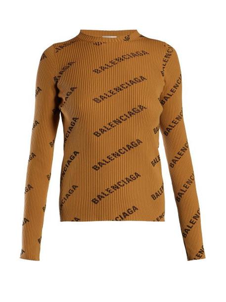 Balenciaga - Logo Print Ribbed Top - Womens - Camel
