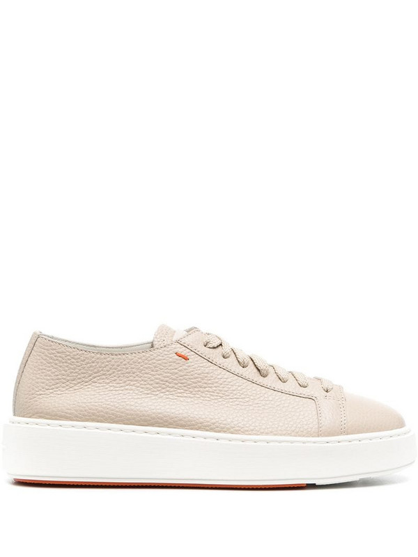 Santoni leather low-top sneakers in neutrals