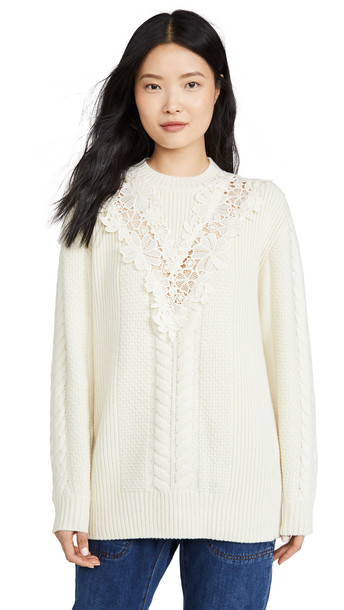 See by Chloe Lace Detail Pullover in yellow