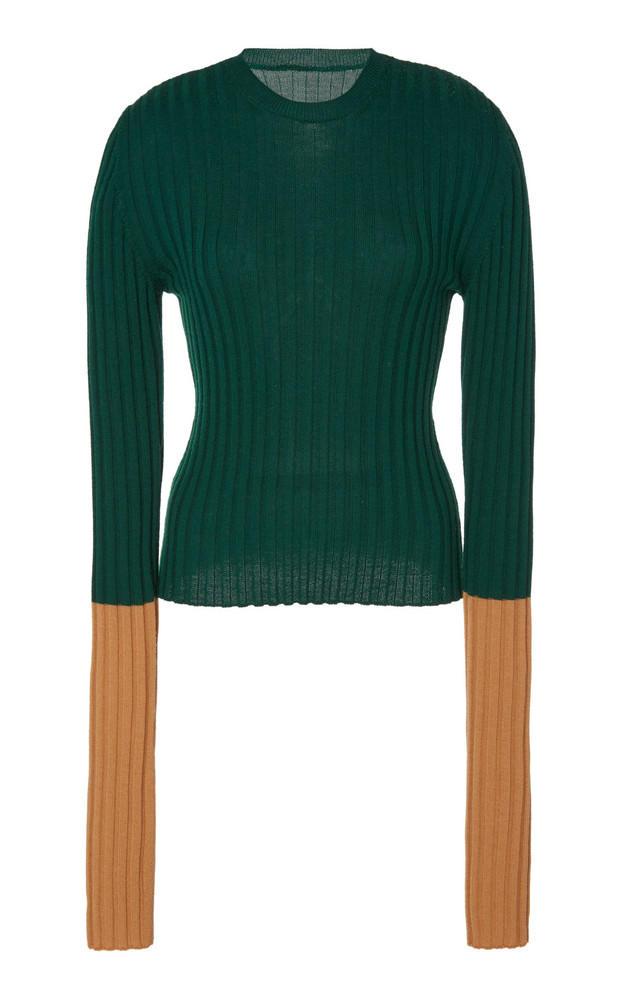 JW Anderson Long Sleeve Ribbed Wool Top Size: XS in green