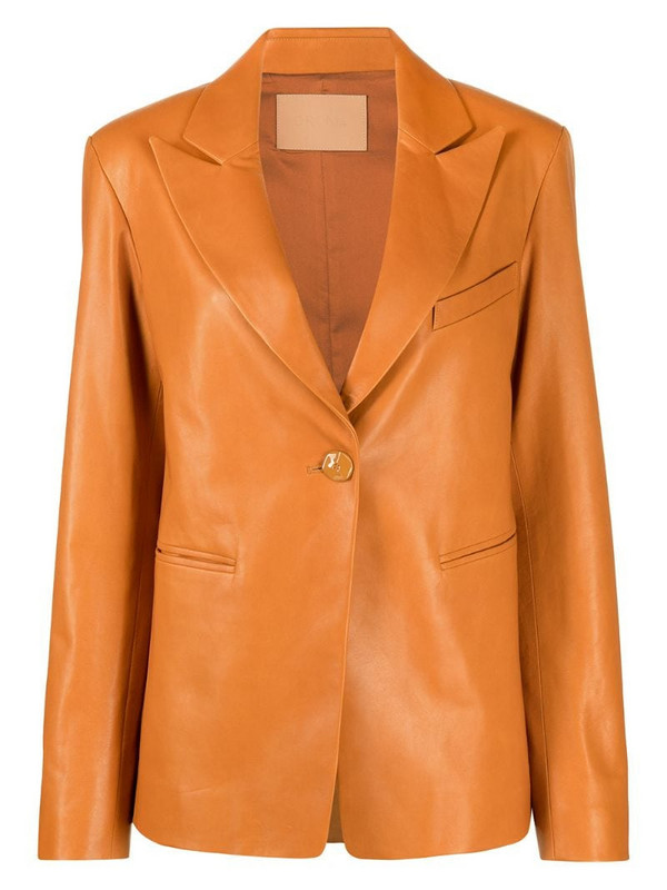Drome single-breasted leather blazer in brown