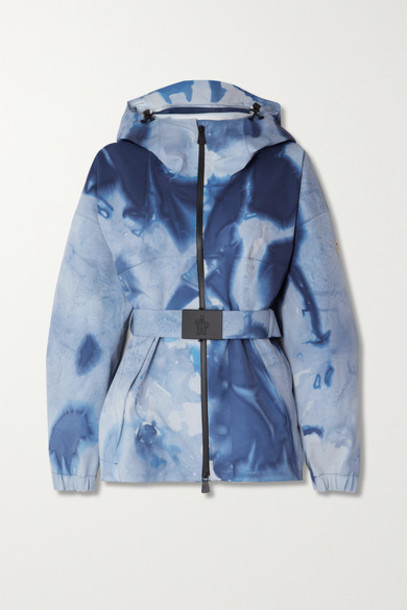Moncler Genius - Hooded Belted Tie-dyed Ski Jacket - Blue