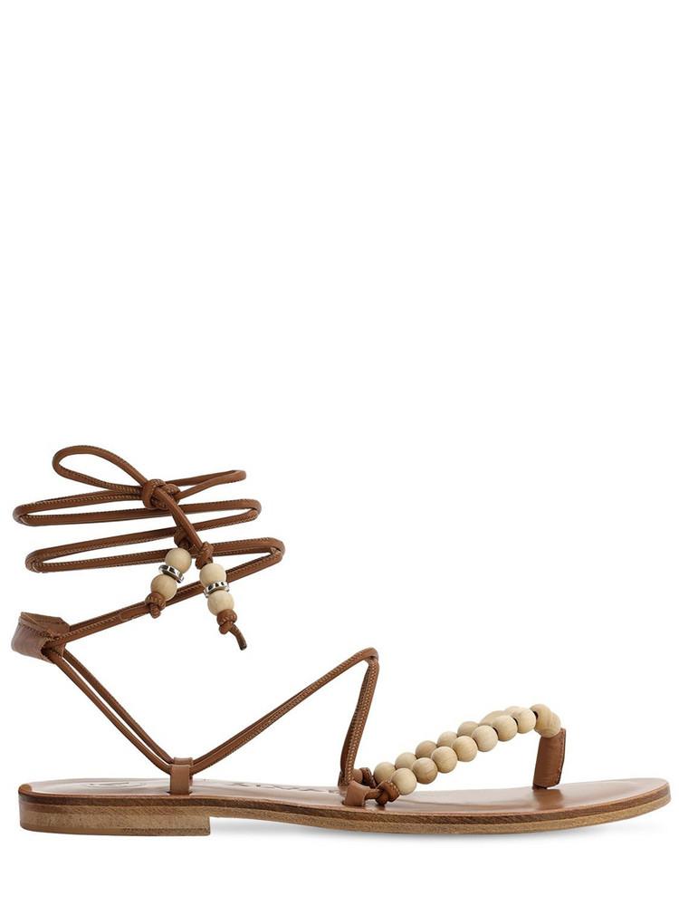 ALVARO 10mm Leather Thong Sandals in beige