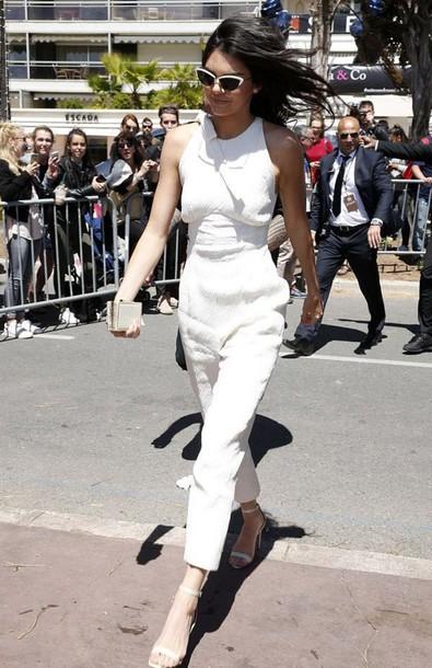 jumpsuit kendall jenner sandals cannes kardashians sunglasses white jumpsuit white sandals