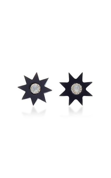 Colette Jewelry Starburst 18K White Gold Onyx and Diamond Earrings in black
