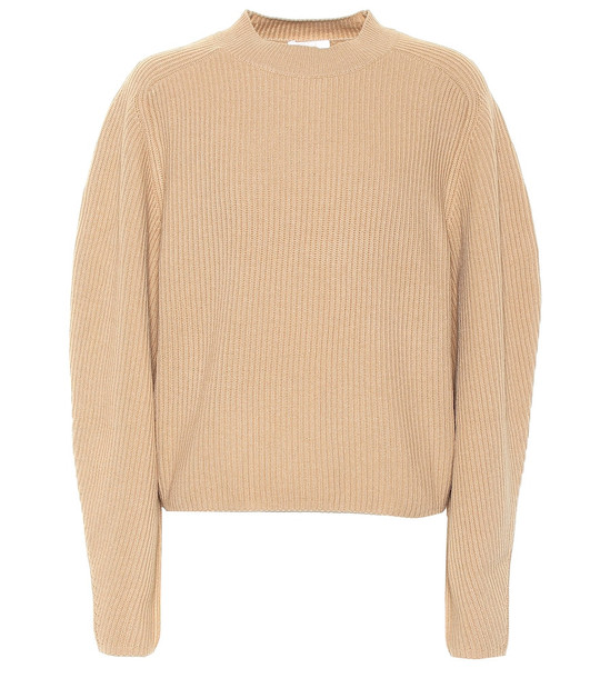 Chloé Ribbed wool and cashmere sweater in brown