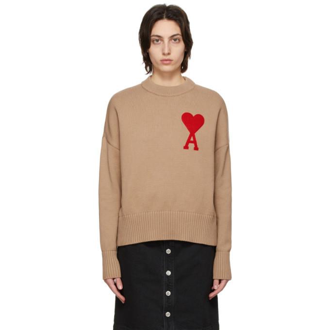 AMI Alexandre Mattiussi Tan Oversize Ami De Coeur Sweater in beige