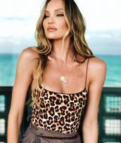 swimwear,candice swanepoel,animal print,celebrity,model off-duty,instagram,leopard print