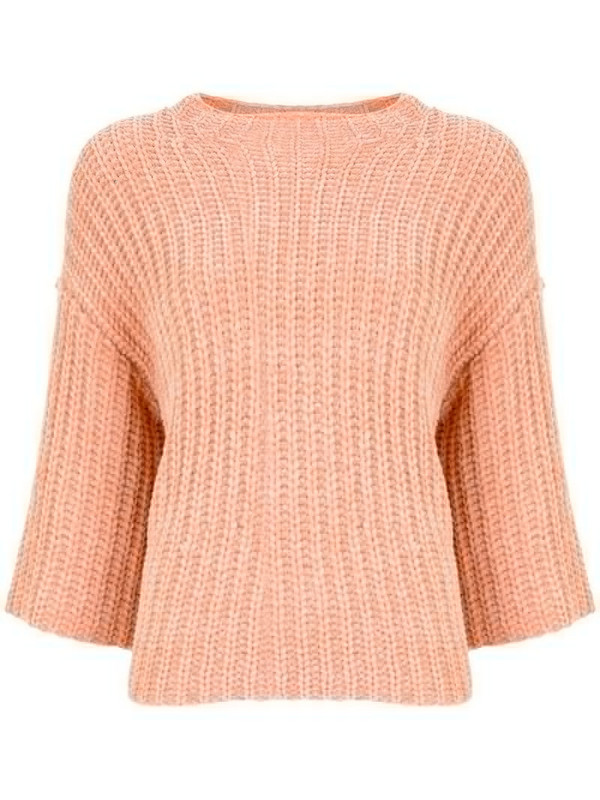 LAPOINTE velvet ribbed-knit jumper in pink