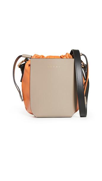 Marni Gusset Shoulder Small Bag in orange / silver