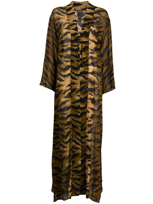 Dsquared2 tiger print cover-up in brown