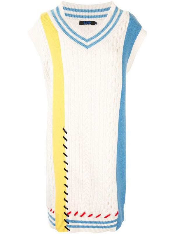SJYP multi-knit jumper dress in white