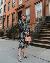 dress,midi dress,floral dress,long sleeve dress,black sandals,handbag