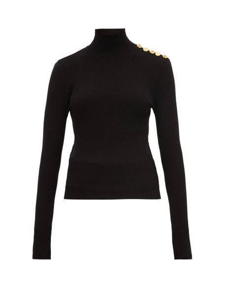 Alexandre Vauthier - Button Detail Ribbed Wool Blend Sweater - Womens - Black