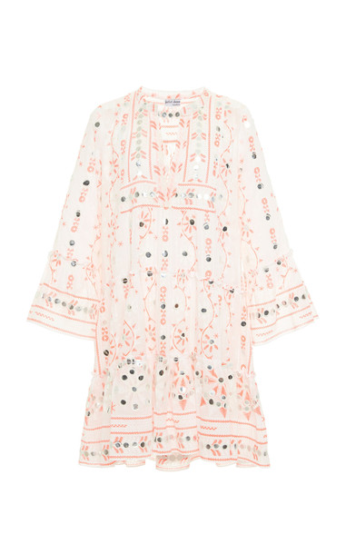 Juliet Dunn Nomad Print Flared Sleeve Cotton Dress in white