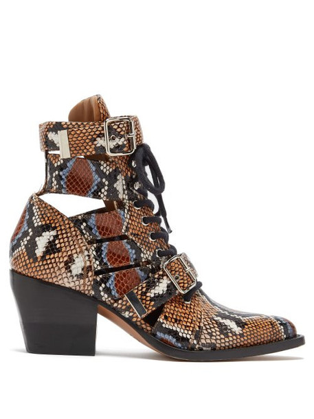 Chloé Chloé - Rylee Python Print Leather Ankle Boots - Womens - Multi
