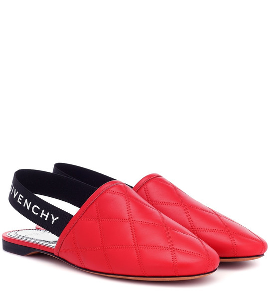Givenchy Rivington leather slingback slippers in red