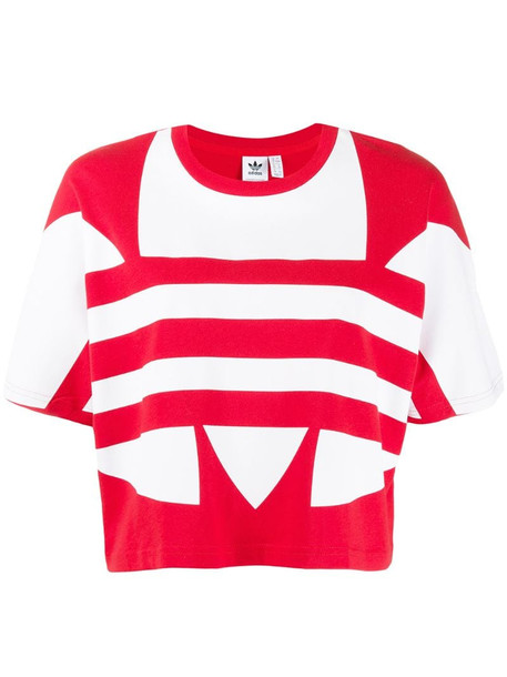 adidas large logo short-sleeve top in red