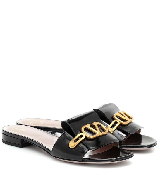 Valentino Garavani VLOGO leather slides in black
