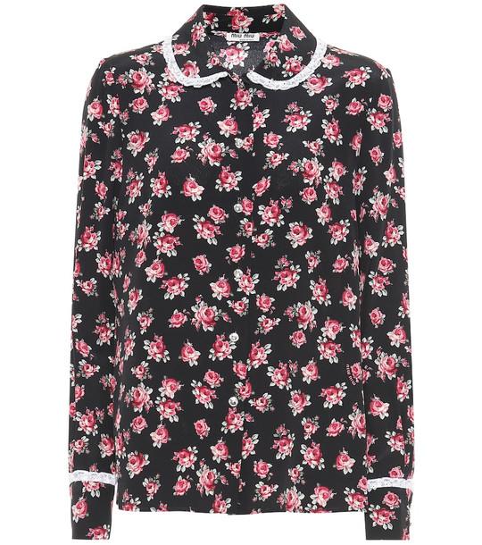 Miu Miu Floral silk shirt in black