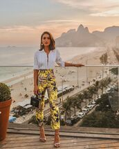 pants,high waisted pants,yellow pants,sandals,white shirt,black bag,gold,print,camila coelho,blogger,blogger style