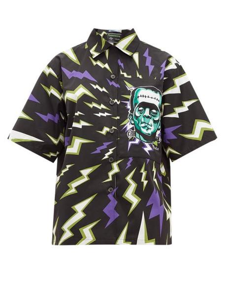Prada - Frankenstein Print Cotton Poplin Shirt - Womens - Black Multi