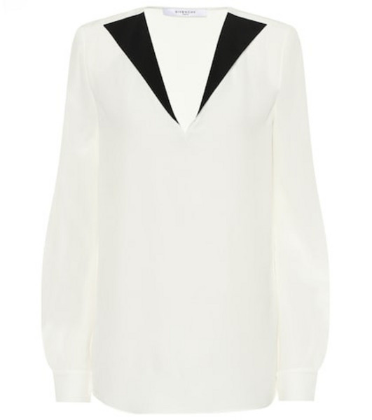 Givenchy Silk-crêpe blouse in white