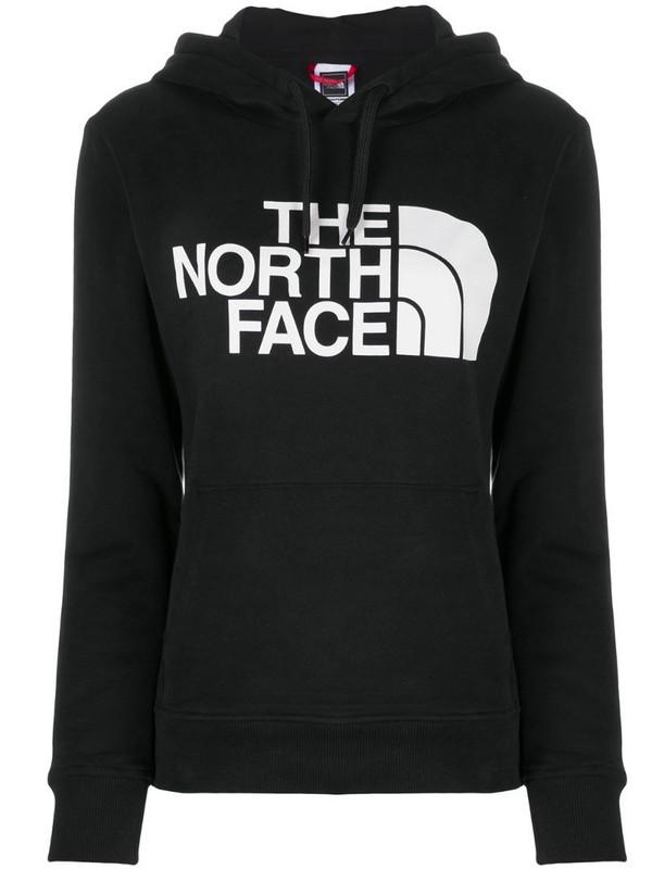 The North Face long-sleeved logo print hoodie in black