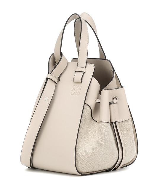 Loewe Hammock Small leather shoulder bag in beige