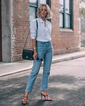 jeans,high waisted jeans,mom jeans,black sandals,black bag,chanel bag,white shirt