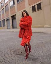 coat,red coat,snake print,red boots,knee high boots,red skirt,asymmetrical skirt