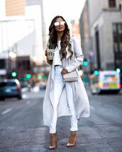 jeans,white jeans,skinny jeans,long coat,trench coat,pumps,ysl bag,white crop tops