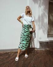 shoes,white sandals,midi skirt,slit skirt,white bag,white t-shirt