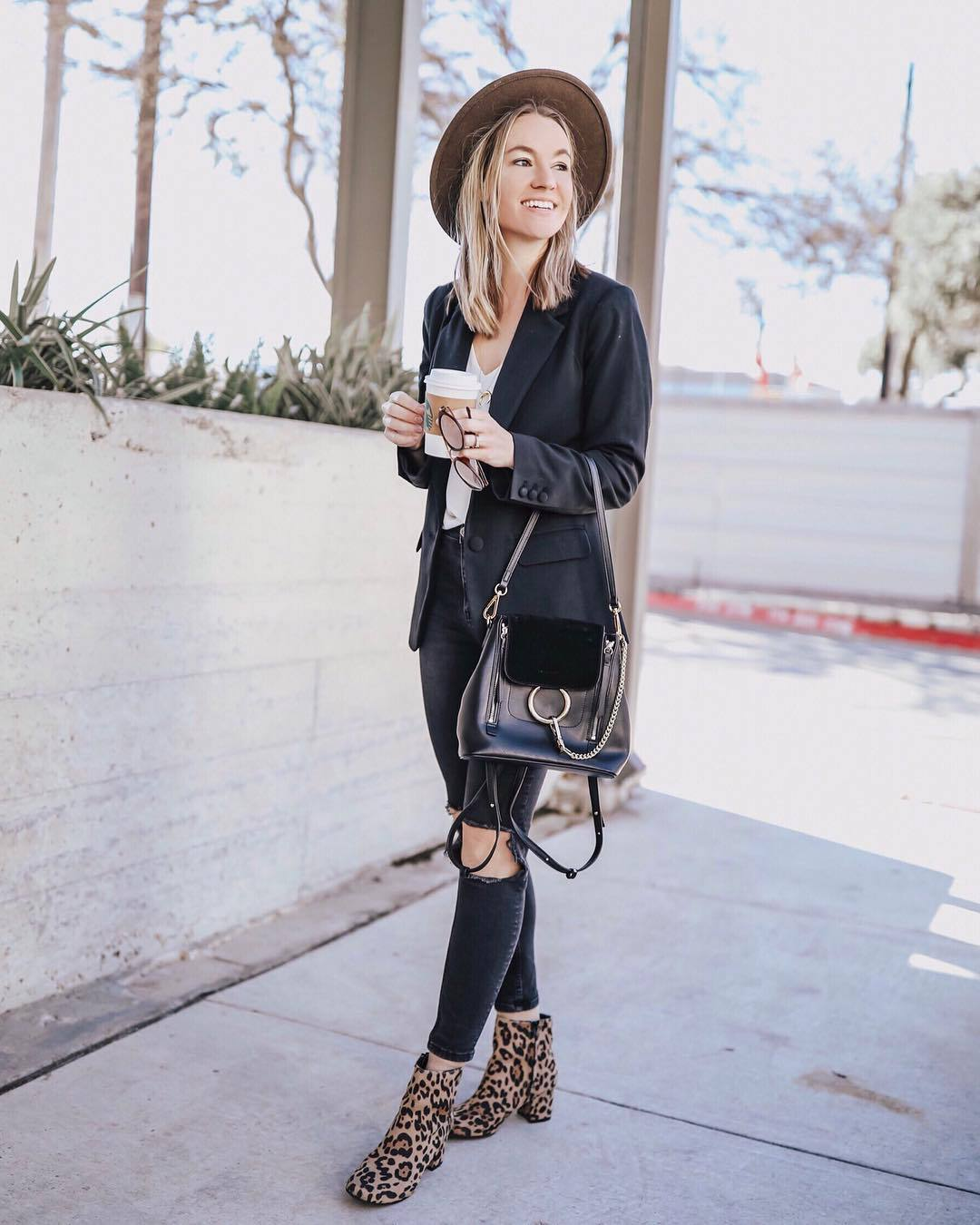bag black bag ankle boots leopard print heel boots black skinny jeans black ripped jeans high waisted jeans black blazer white top hat