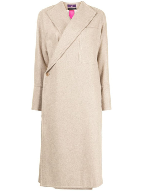 Y's asymmetric front wool coat in brown
